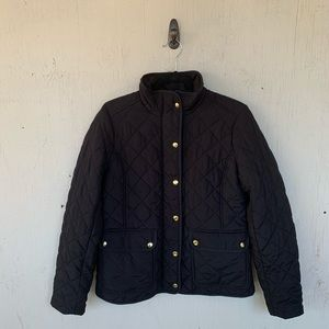 J Crew Black Quilted Button Down Zipper Jacket